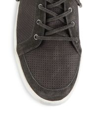 Joie - Gray Devon Snake-trim Perforated Suede High-top Sneakers - Lyst