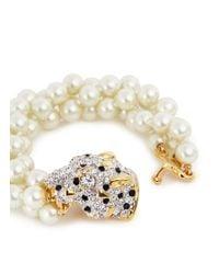 Kenneth Jay Lane | White Crystal Pavé Cheetah Pearl Bracelet | Lyst