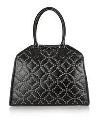 Alaïa | Black Trapeze Arabesque Embellished Leather Tote | Lyst