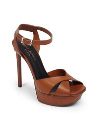 Saint Laurent - Brown Bianca Leather Platform Sandals - Lyst