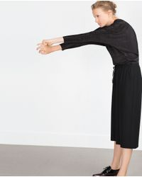 Zara | Black Culotte-style Bermudas | Lyst