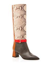 Pollini - Brown Color Block Boot - Lyst