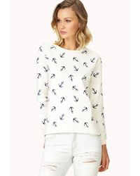 Forever 21 | White Anchors Away Sweater | Lyst