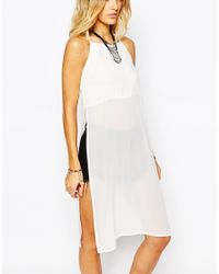 Glamorous | Natural Maxi Cami Top With Side Splits | Lyst