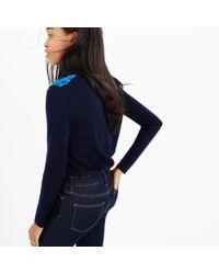J.Crew | Blue Petite Lace Appliqué Sweater | Lyst