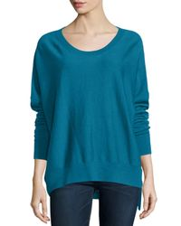 Eileen Fisher | Blue Merino High-low Top | Lyst