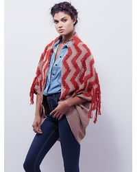 Free People - Brown Womens Diamond Fringe Kimono - Lyst