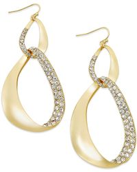 INC International Concepts | Metallic Gold-tone Pavé Link Drop Earrings | Lyst