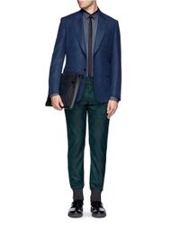 Giorgio Armani - Blue Saffiano Leather Document Case for Men - Lyst