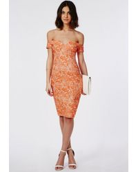 Missguided - Orange Malinka Bardot Bodycon Midi Dress - Lyst