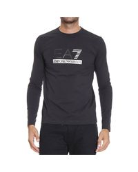 EA7 | Black T-shirt Long Sleeve Crewneck Big Logo for Men | Lyst