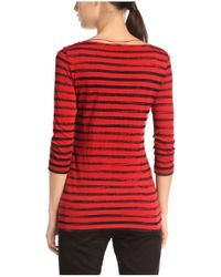 BOSS Orange | Red T-shirt 'tastripe' In Cotton Blend | Lyst