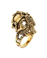 Alexander McQueen - Metallic Harness Skull Ring for Men - Lyst