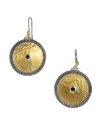Gurhan | Metallic Spinel And Gold Shield Drop Earrings | Lyst