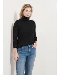 Violeta by Mango - Black Funnel Neck Sweater - Lyst