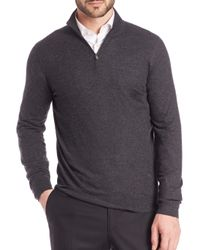 Isaia - Gray Cashmere Half-zip Pullover for Men - Lyst