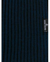 Stone Island - Blue Ribbed Knit Scarf for Men - Lyst
