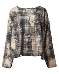 Faith Connexion - Gray Splatter Print Plaid Sweater - Lyst