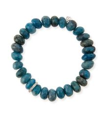 Sydney Evan | 10mm Faceted Blue Chrysocolla Beaded Bracelet With 14k White Gold Diamond Disc | Lyst
