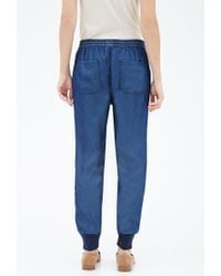 Forever 21 | Blue Ribbed-trim Denim Joggers | Lyst