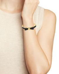 Kate Spade | Black Perfectly Placed Leather Bow Hinge Bangle | Lyst