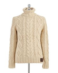 Superdry | Natural Turtleneck Cable Knit Sweater for Men | Lyst