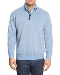 Peter Millar - Blue Quarter Zip Merino Wool Sweater for Men - Lyst