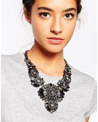 Little Mistress - Black Statement Flower Necklace - Lyst