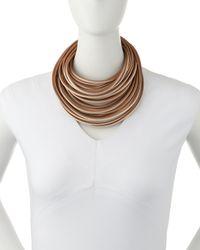 Brunello Cucinelli | Brown Multi-strand Leather Necklace | Lyst