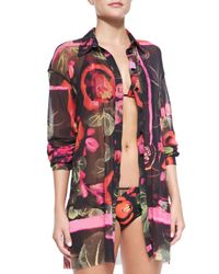 Jean Paul Gaultier - Multicolor Floral-Print Sheer Coverup Blouse - Lyst