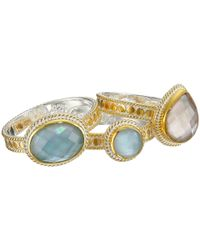 Anna Beck - Metallic 3 Stack Aquamarine/Smokey Quartz Ring - Lyst