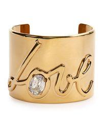 Lanvin | Metallic Brass Love Cuff Bracelet | Lyst