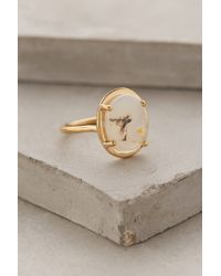 Anthropologie - Metallic Agate Pendant Ring - Lyst