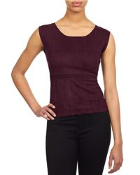William Rast | Purple Textured Roundneck Top | Lyst