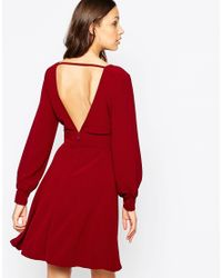 ASOS   Black Tall 70's Plunge Mini Dress With Long Sleeves   Lyst