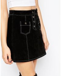 ASOS | Natural A-line Suede Mini Skirt With Contrast Stitch And Button Through | Lyst
