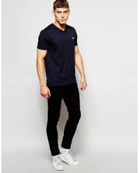 Fred Perry - Blue T-shirt With V Neck In Navy for Men - Lyst