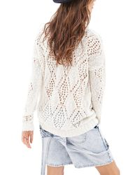 Forever 21 - White Open-knit Pom Pom Sweater - Lyst