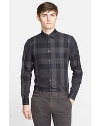 Burberry | Gray 'southbrook' Trim Fit Plaid Sport Shirt for Men | Lyst