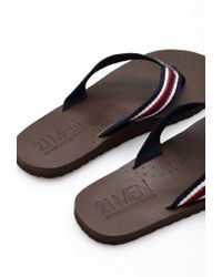 Forever 21 - Blue Stripe Flip-flops for Men - Lyst