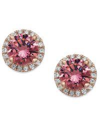 Macy's | Multicolor 14k Rose Gold Over Sterling Silver Earrings, Pink Swarovski Zirconia Stud Earrings (2-3/4 Ct. T.w.) | Lyst