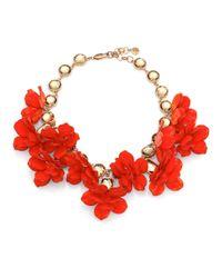 Tory Burch - Red Flower Rhinestone Necklace - Lyst