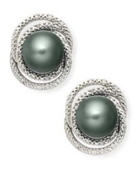 Macy's | Metallic Sterling Silver Earrings, Cultured Tahitian Pearl And Diamond (1/10 Ct. T.W.) Drop Earrings | Lyst