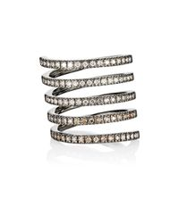 Roberto Marroni - Metallic Women's Mixed-diamond Spiral Ring - Lyst
