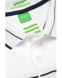 BOSS Green - White 'Paule Pro' | Slim Fit, Moisture Manager Stretch Cotton Blend Polo Shirt With Uv Protection for Men - Lyst