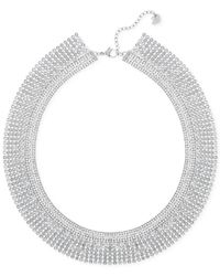 Swarovski | Metallic Silver-tone Crystal Mesh Collar Necklace | Lyst
