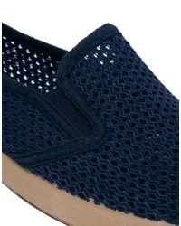 YMC | Blue Mesh Slipon Plimsolls for Men | Lyst