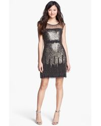 Adrianna Papell | Black Illusion Yoke Beaded Sheath Dress | Lyst
