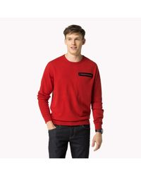 Tommy Hilfiger | Red Wool Cotton Blend Sweater for Men | Lyst
