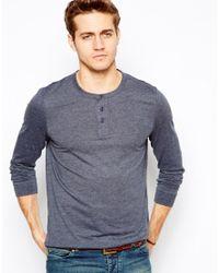 ASOS | Blue Long Sleeve Grandad for Men | Lyst